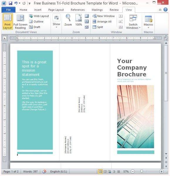 Microsoft Word Tri Fold Template Ms Word Brochure Template Free - brochure template free download microsoft word