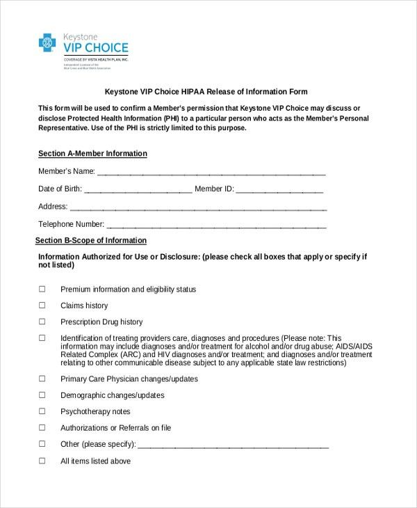 Release of information form template with sample - hipaa form