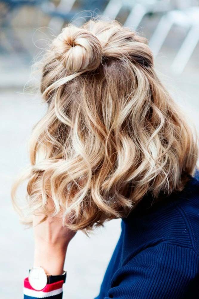 Top Knot For Short Hair #topknot #wavyhair ★ Sexy short hairstyles are the answer for those who wonder which type of haircut is the best. Forget about waking up earlier only to fix your hair! #glaminati #lifestyle  #shorthairstyles