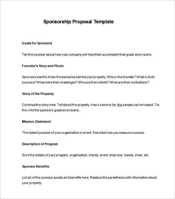 Example Sponsorship Proposal Sample Sponsorship Proposal Template - non profit proposal template