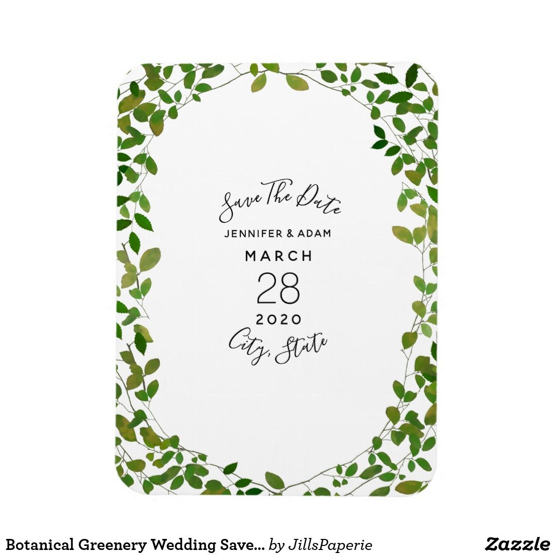 Botanical Greenery Wedding Save The Date Magnet