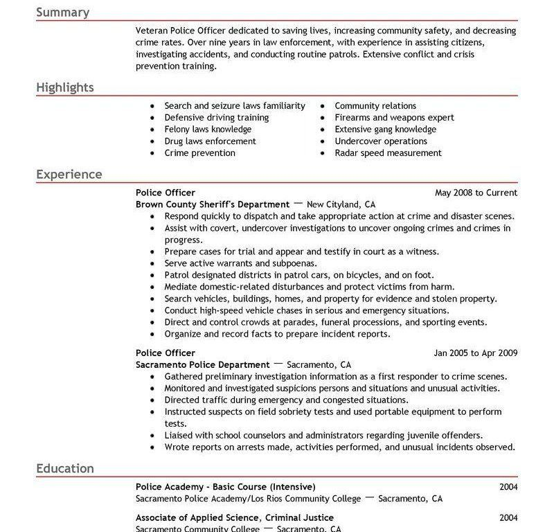 crime prevention specialist sample resume