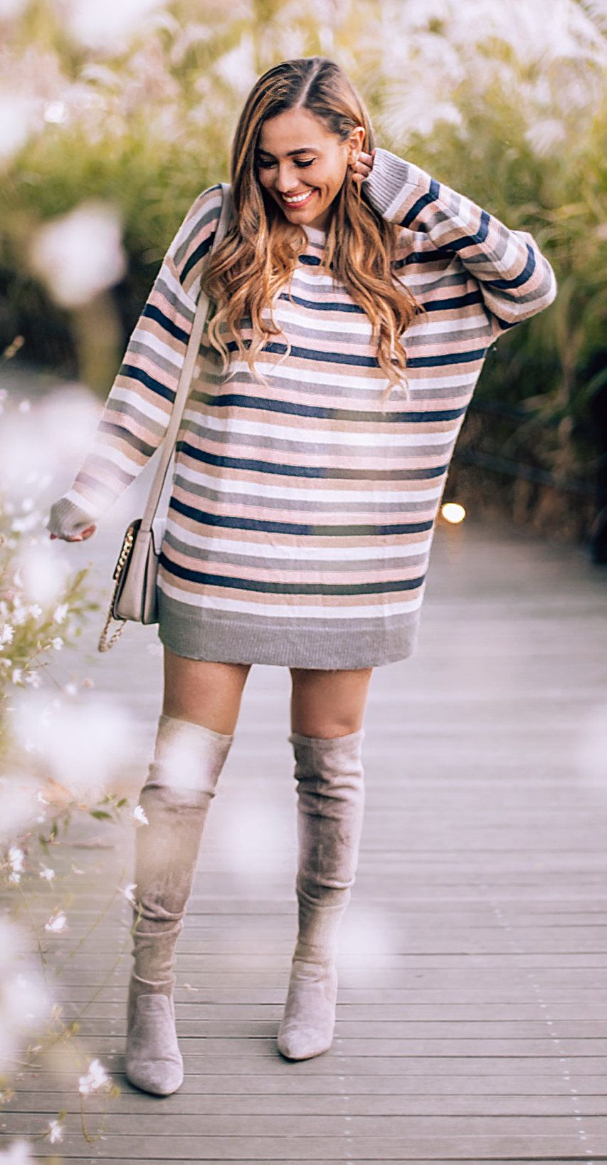 white, black, and brown striped top