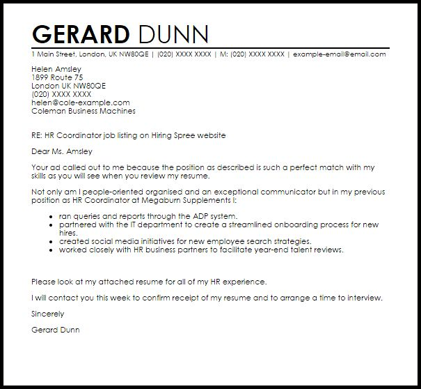 Sample Hr Cover Letters Human Resources Letter  Human Resource Cover Letter Sample