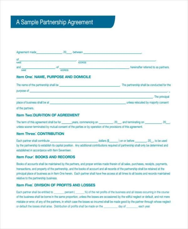 Partnership agreement template sample form biztreecom - partnership agreement