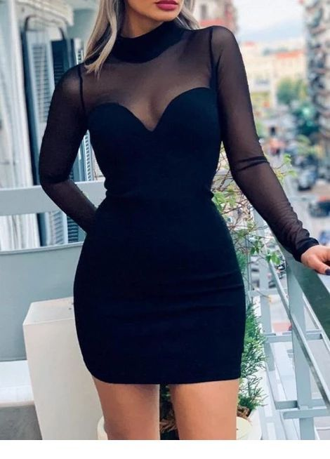 Cute long sleeve black dress