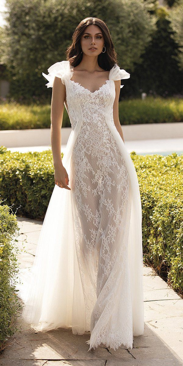 27 Chic Bridal Dresses: Styles & Silhouettes ❤ bridal dresses sheath with bow full lace rustic pronovias #weddingforward #wedding #bride