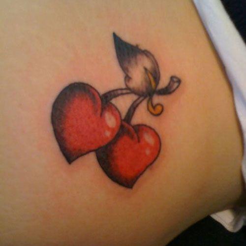 Heart Tattoo Designs – Cherry Hearts – Heart Tattoo Designs For Women – The Best Heart Tattoos, Realistic, Detailed, Large, Cute, Small Heart Tattoos #heart #hearttattoo #tattoos #tattooideas #tattoosforwomen #tattoodesigns