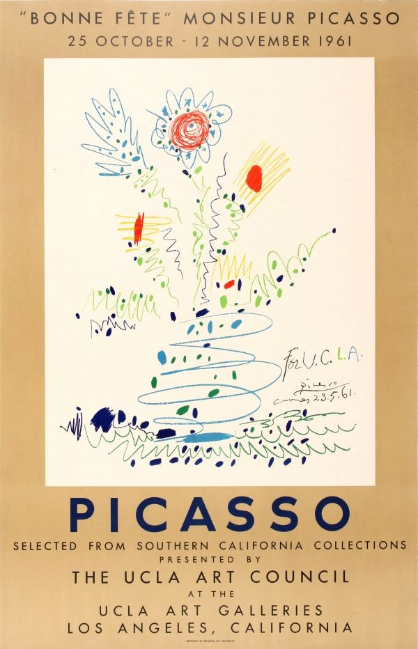 Picasso UCLA 1961 France / 1961 / Advertising Posters / Pablo Picasso / 99.5x63.5 Original vintage advertising poster for a… / MAD on Collections - Browse and find over 10,000 categories of collectables from around the world - antiques, stamps, coins, memorabilia, art, bottles, jewellery, furniture, medals, toys and more at madoncollections.com. Free to view - Free to Register - Visit today. #Posters #Advertising #MADonCollections #MADonC