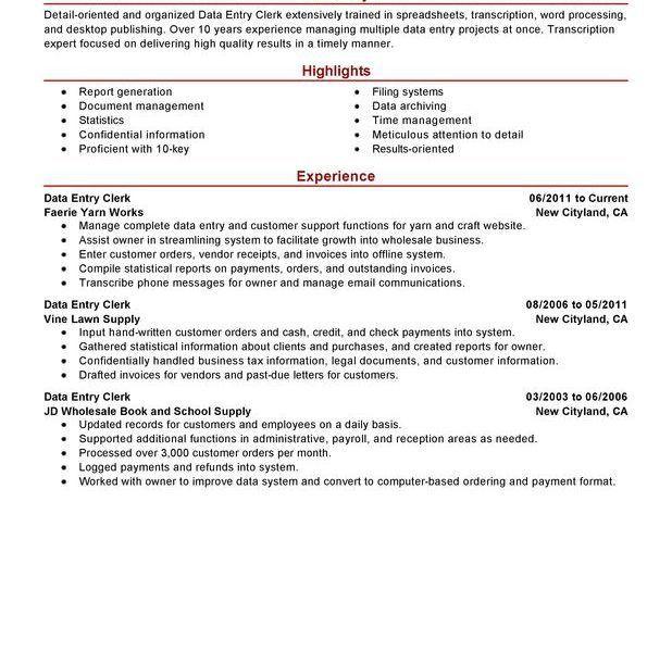 resume data entry