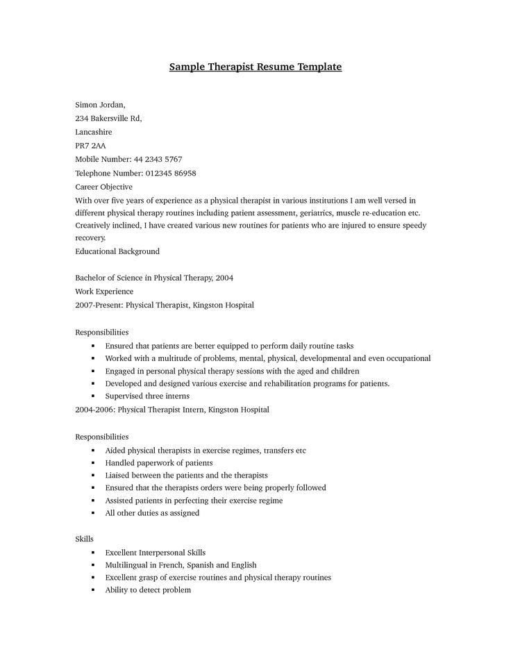 Physical Therapist Cover Letter Sample Physical Therapist Cover - physical therapist resume