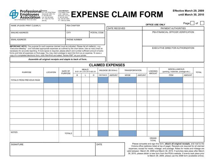 Expense Reimbursement Template Free Expense Reimbursement Form - expense reimbursement form