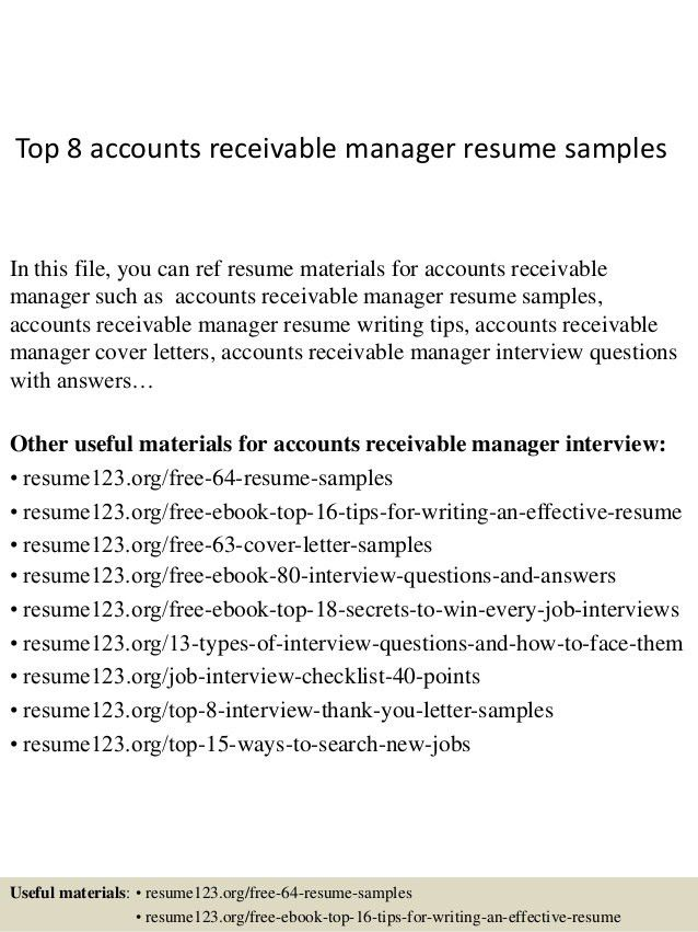 Accounts Receivable Resume Samples Unforgettable Accounts