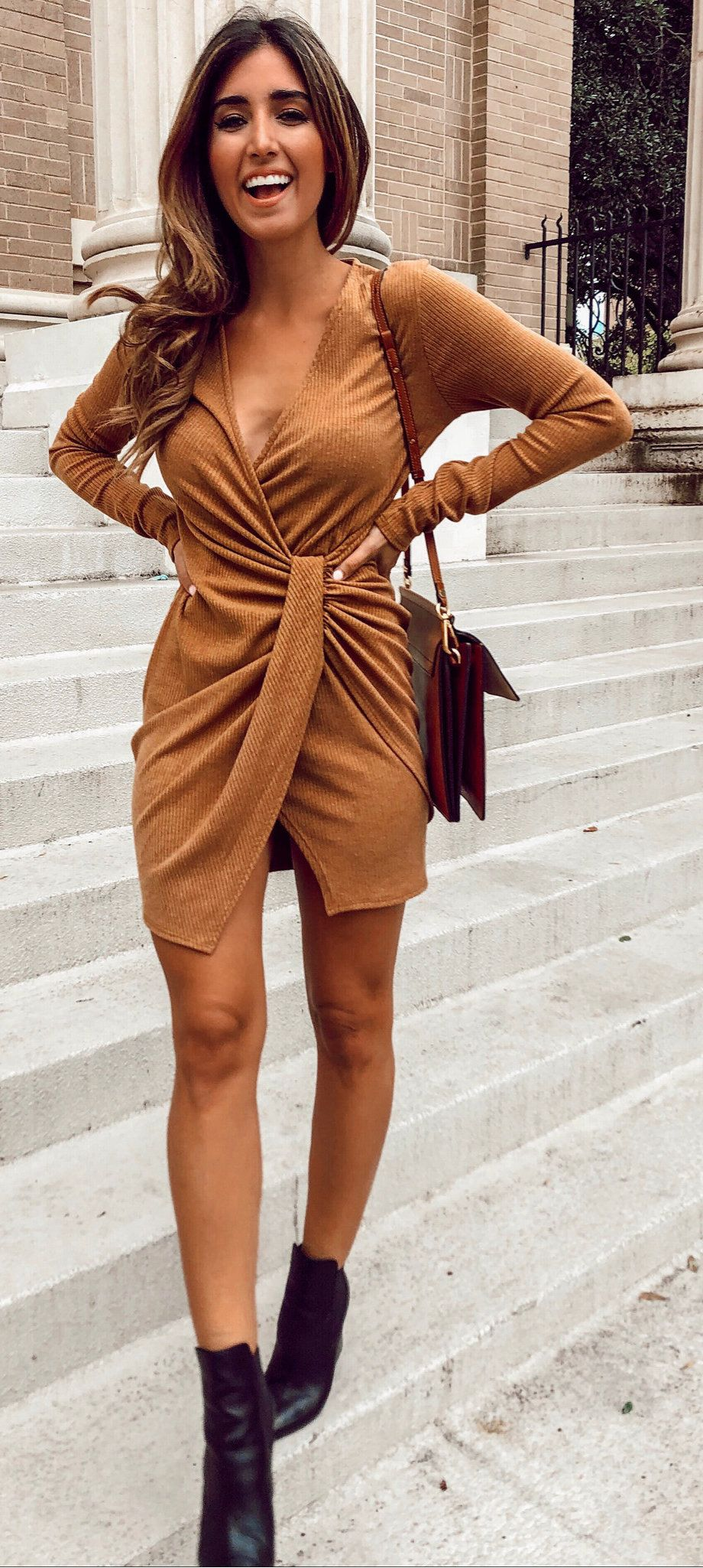 brown plunge-neck long-sleeved mini dress