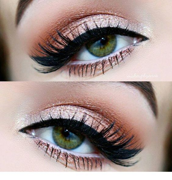 Chic pink makeup for green eyes