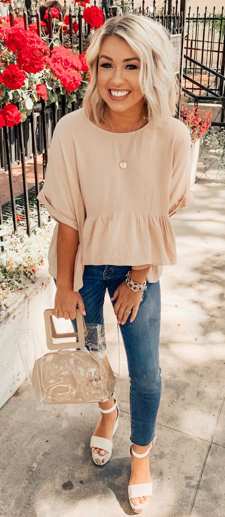 beige crew-neck elbow-sleeved shirt and blue denim fitted jeans #summer #outfits