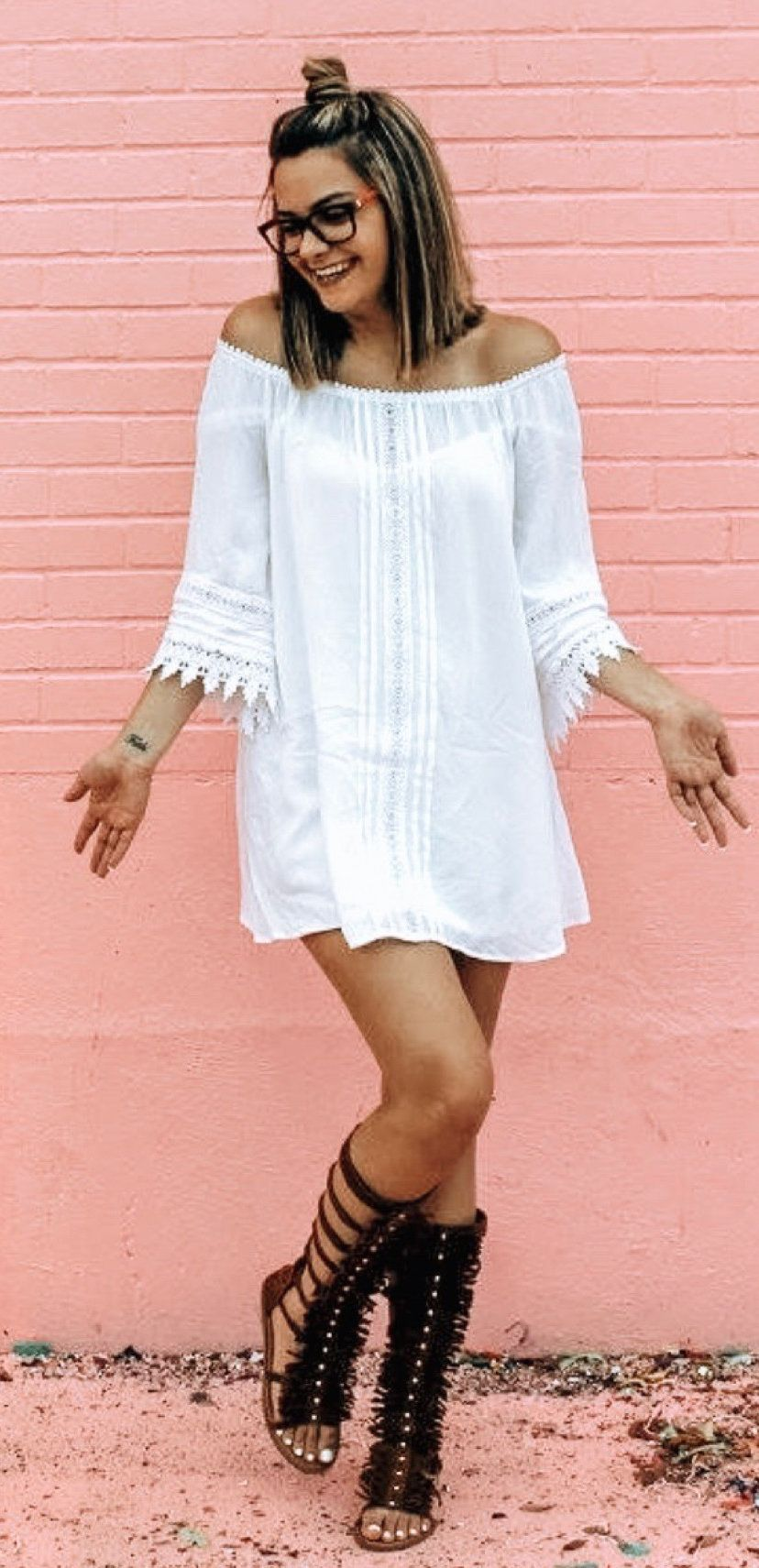 white off-shoulder sheath dress #spring #outfits
