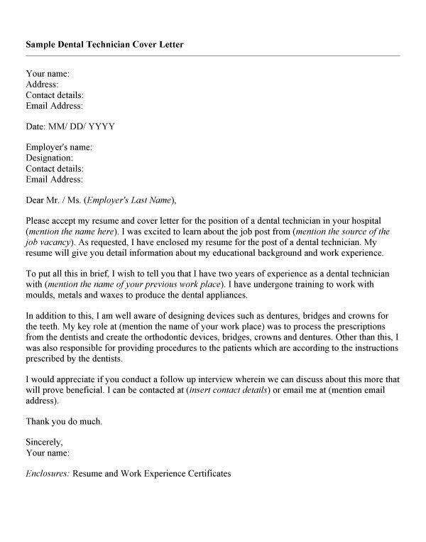 Dental Technician Cover Letter Cvresume Unicloud Pl