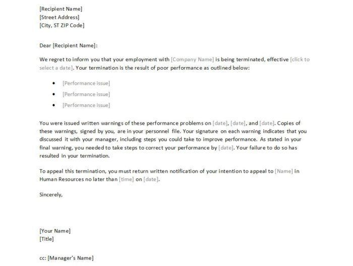 Employment Termination Letter Template Free Termination Letter - employee termination letter