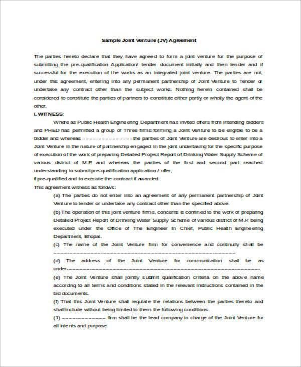 Joint Venture Agreements Sample Joint Venture Agreement Template - agreement form sample