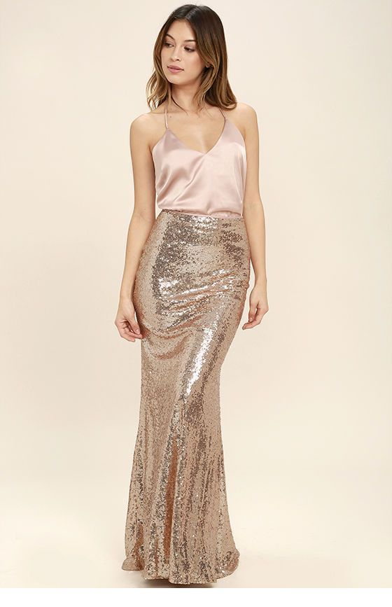 Glam top and long glitter skirt