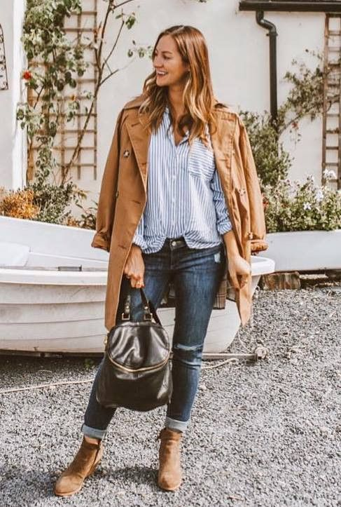 what to wear this fall : striped shirt trench coat jeans boots bag