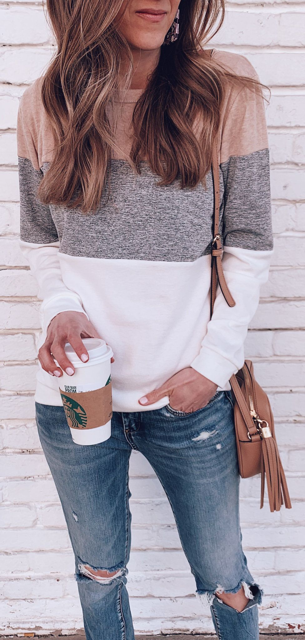 heather pink and gray long-sleeved top #spring #outfits