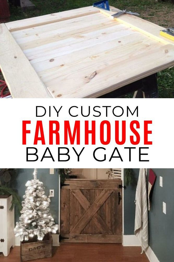 Hate those ugly standard baby gates? If you're looking for a unique custom made baby gate to match your farmhouse home decor you'll want to check this diy project. Use this gate for stairs or to dog proof your home. #diy #babygate #farmhouse