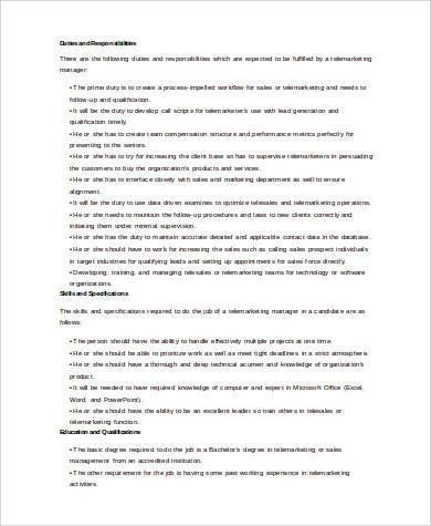 tele marketing manager resume responsibilities of a sales