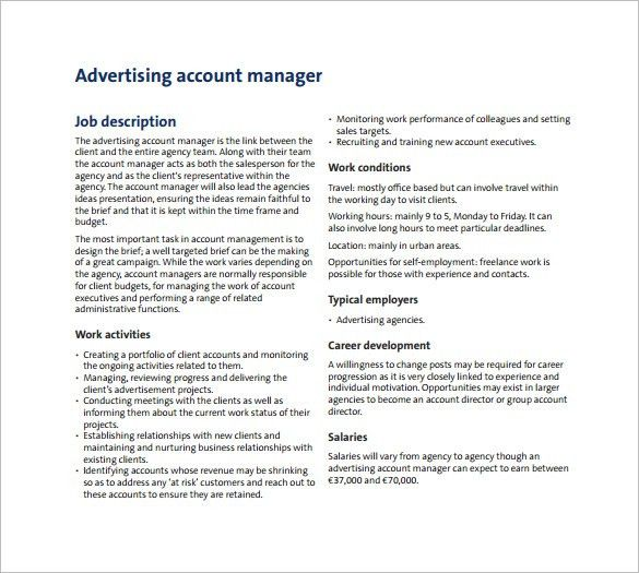 Advertising Manager Job Description Top 10 Advertising Manager - account management job description