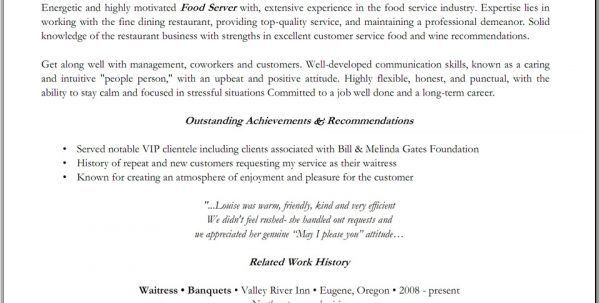 Fine Dining Server Resume Sample Waitress Resume Sample - waiter resume