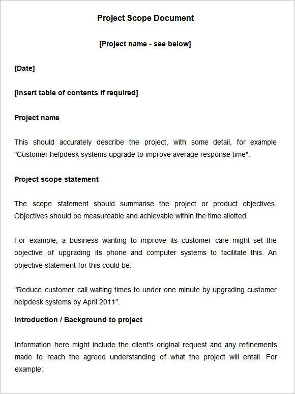 Project Scope Statement Example Project Scope Statement Expert - scope of work template