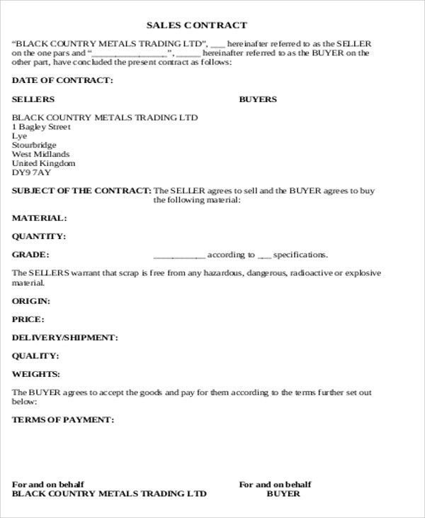 Sales Agreement Contract Template 15 Sales Contract Templates - basic agreement