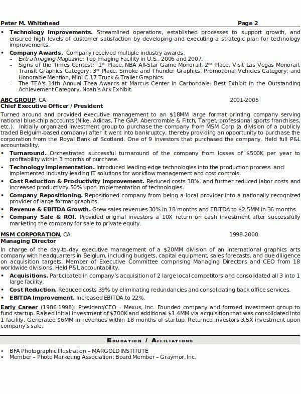 Senior Executive Resume Samples Resume Sample 8 Senior Executive - senior executive resume