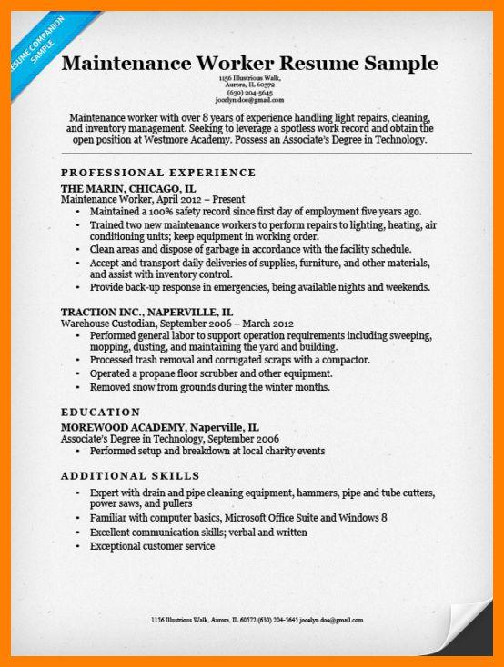 sample resume for maintenance worker vibrant inspiration