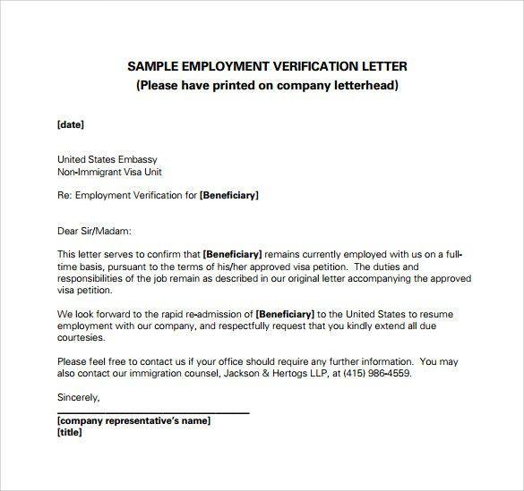 Employment Verification Letter Template Word 40 Proof Of - employee verification letter
