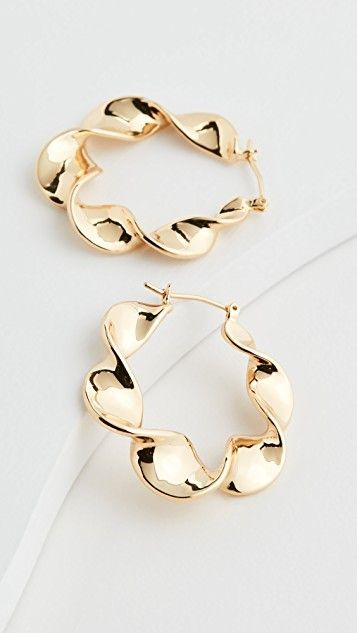 loeffler randall gold Indiya Metal Twisted Hoops