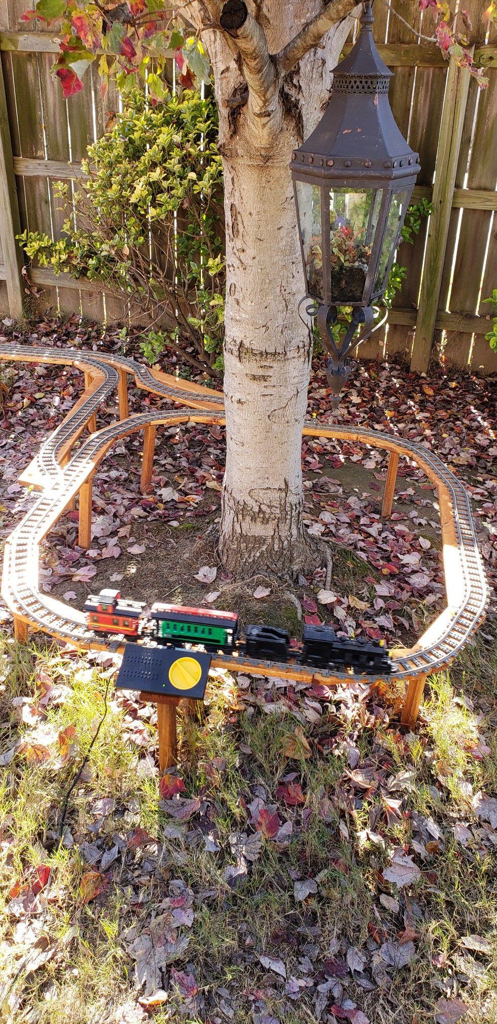 Lego Garden Railroad In My Back Yard Garden Railroad Garden Trains Model Railroad Diy backyard train plans