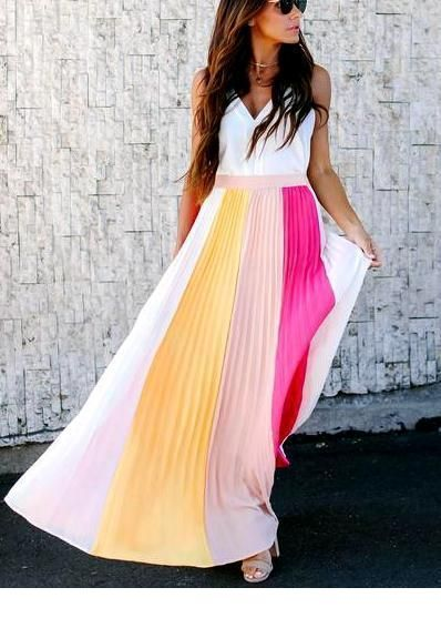 White top and colorful long skirt