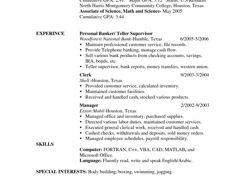 bank teller resume example - Resume Skills For Bank Teller