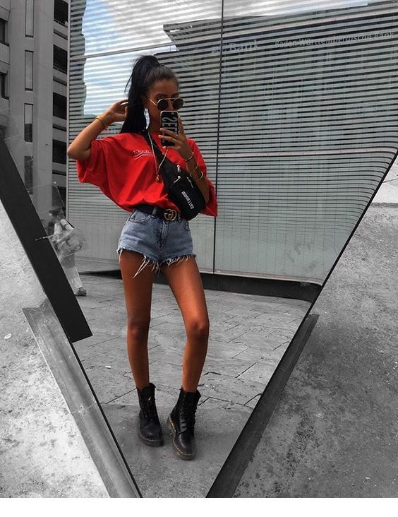 Red t-shirt, denim shorts