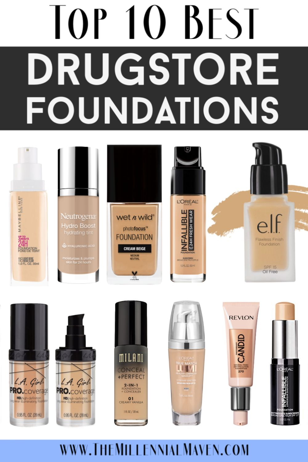 *UPDATED 2019* Top 10 Best Foundations at the Drugstore || Best Drugstore Foundation + Full Coverage Drugstore Foundation | The Millennial Maven