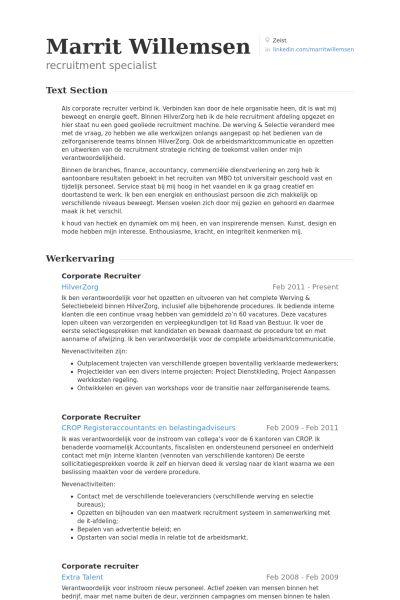 Corporate Resume Example Recruiter Resume Corporate Recruiter