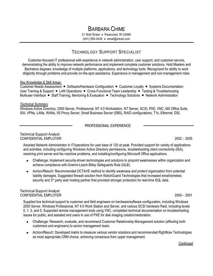 Technical Support Resume Examples Unforgettable Technical Support - it professional resume examples