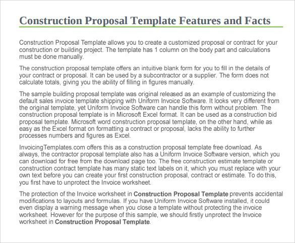 Sample Of Construction Proposal Construction Proposal Template 10 - free sample construction contract