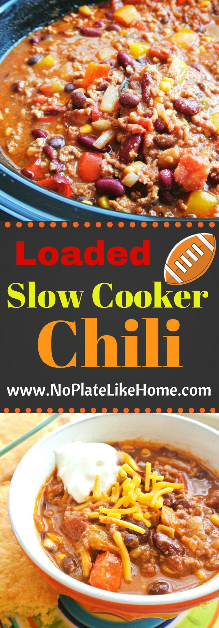 A tasty homemade and easy 5 hr slow cooker chili loaded with ground beef, red kidney beans, black beans, red, yellow and orange bell peppers, canned tomatoes, and chili spices for the best comfort food. Can't wait? Stove top directions included. Perfect for parties! Pin for later. #chili #chilirecipes #slowcooker #easyrecipes #gamedaychili