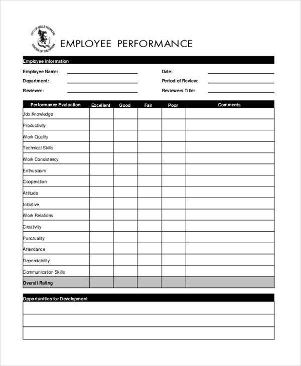 Performance Appraisal Form Format 8 Hr Appraisal Forms Hr - sample employee appraisal form