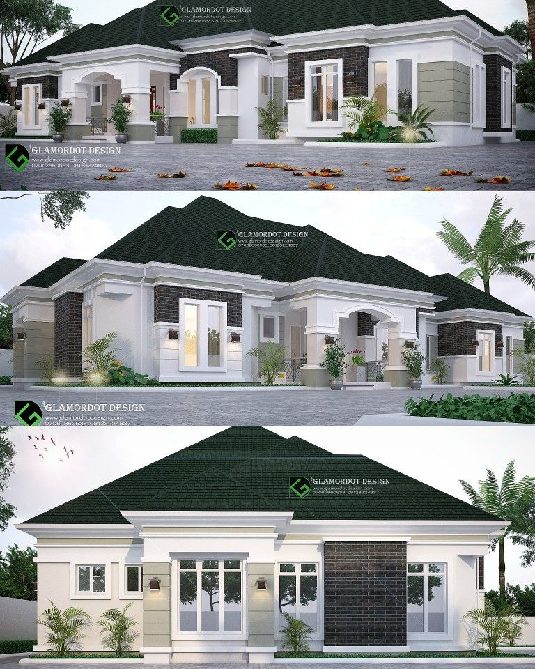 Proposed 4 Bedroom Bungalow Design Delta State Nigeria All Rooms Ensuit With Visitors Toilet Kit House Plans Mansion Mansion Designs Bungalow House Design