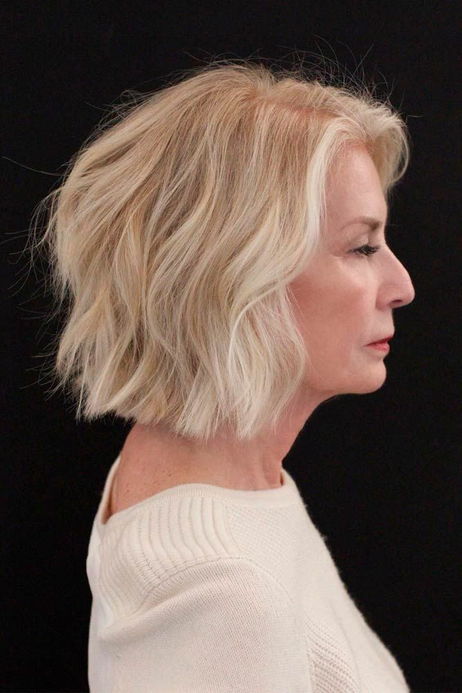 Messy Wavy Blonde Lob #wavyhairstyles #blondehair ★ Short haircuts for women over 50 are special due to their ability to revive the image of a woman and to make her appear years younger. 50 is not the end of the world, trust us. In this post, you can explore the cuts that will enhance your features and cut off some years. Ready? #glaminati #lifestyle #shorthaircutsforwomenover50