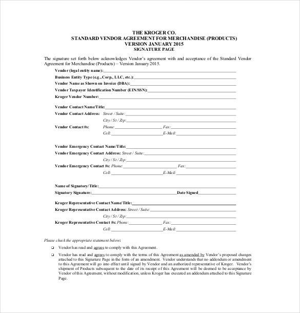 Simple Vendor Agreement Vendor Agreement Template 12 Free Word - sample vendor contract